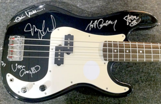 Pearl Jam Autographed Fender Squier Bass w/ Soft Road Case
